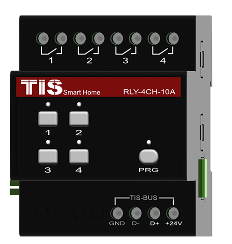 TIS-RLY-4ch-10A Релейный 4-х канальный 10А модуль