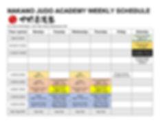 2019-2020 Nakano Judo The Weelkly Schedu
