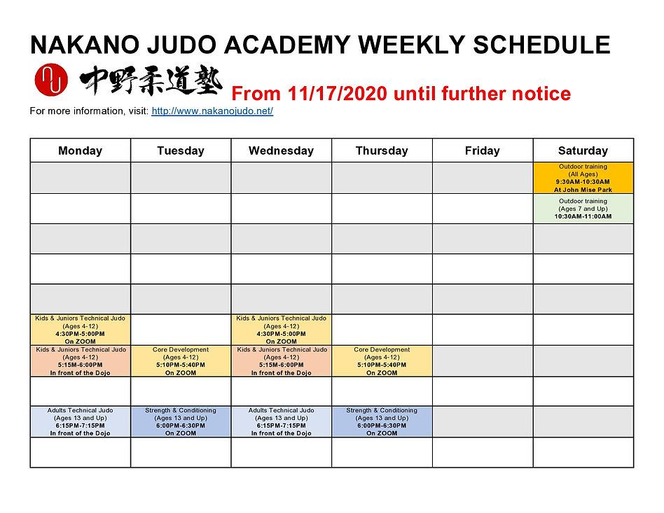11182020 Nakano Judo The Weelkly Schedul