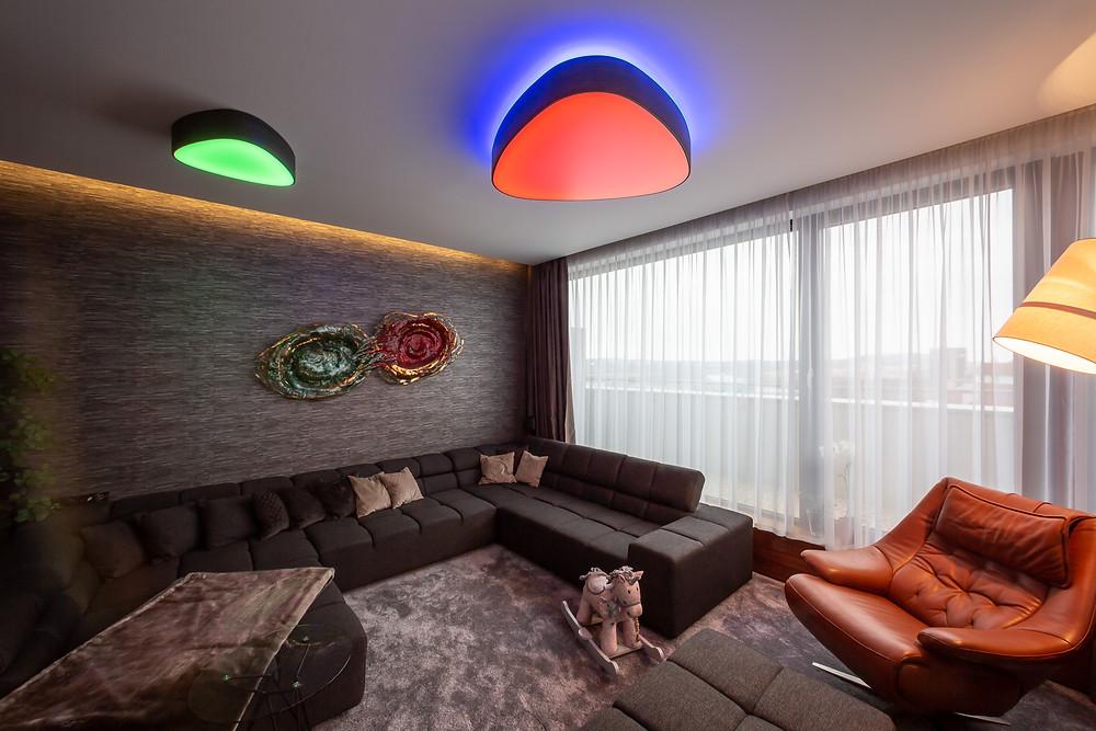 dizajnové svietidlo farebné svetlo LED svetelné stropy