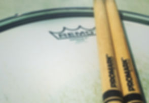 Promark drum sticks, Remo drum head