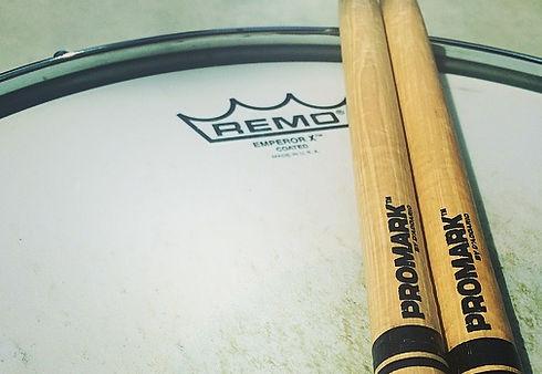 Promark drum sticks, Remo drum head