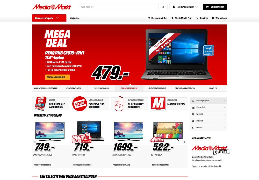 Kleuren website Media Markt