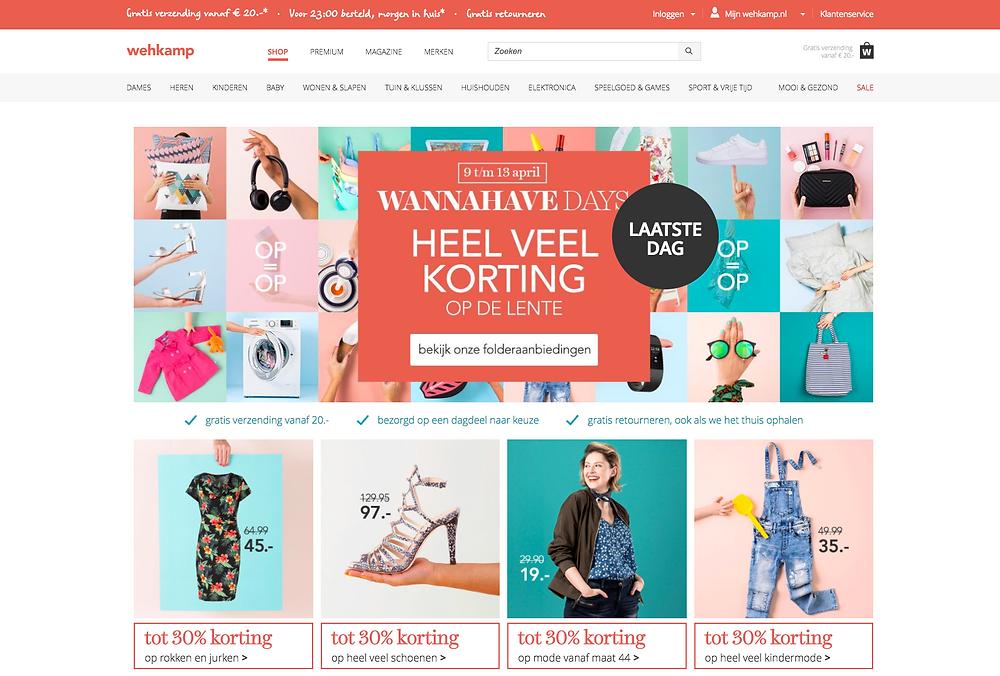 Kleuren website Wehkamp