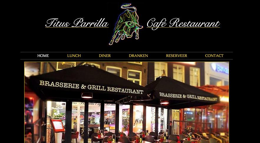 Wix website restaurant Titus Parrilla