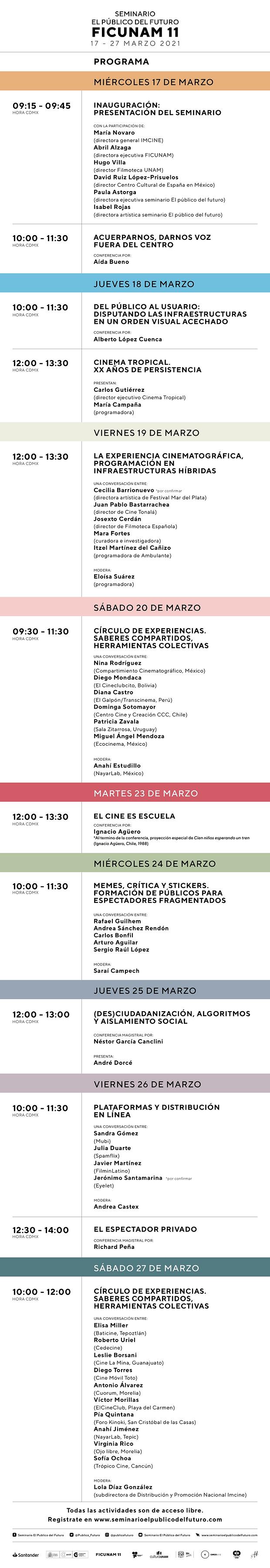 Programa Seminario El Público del Futuro 2021