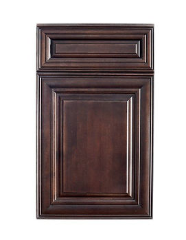 Brunette dark stained wood cabinet