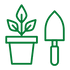 green plant and trowel icon