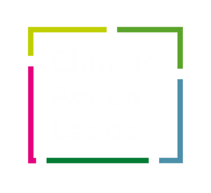 Climate Action Leeds Logo of 5 brightly coloured lines making up a square shape with the words Climate Action Leeds inside