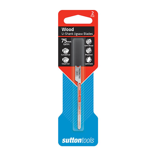 Sutton Tools 2pce Universal Shank Curved Clean Cut Wood Jigsaw Blade