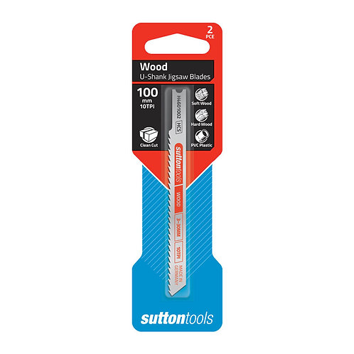 Sutton Tools 2pce Universal Shank Clean Cut Wood Jigsaw Blade