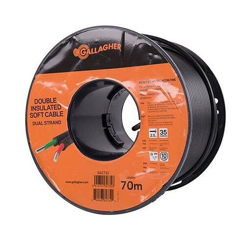 Gallagher Double Insulated 2.5mm Soft Cable Dual Strand 70m