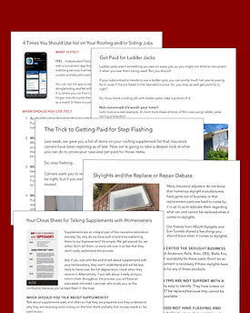 Roof Supplement Articles and Roofing Sales Training Articles