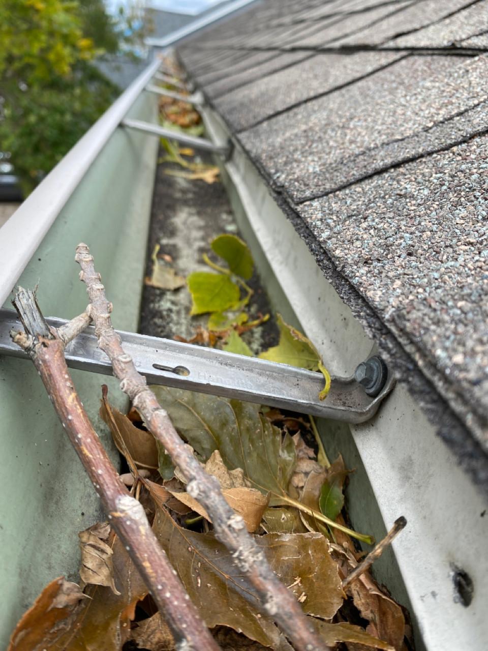 gutter screwed into drip edge; detach and reset item