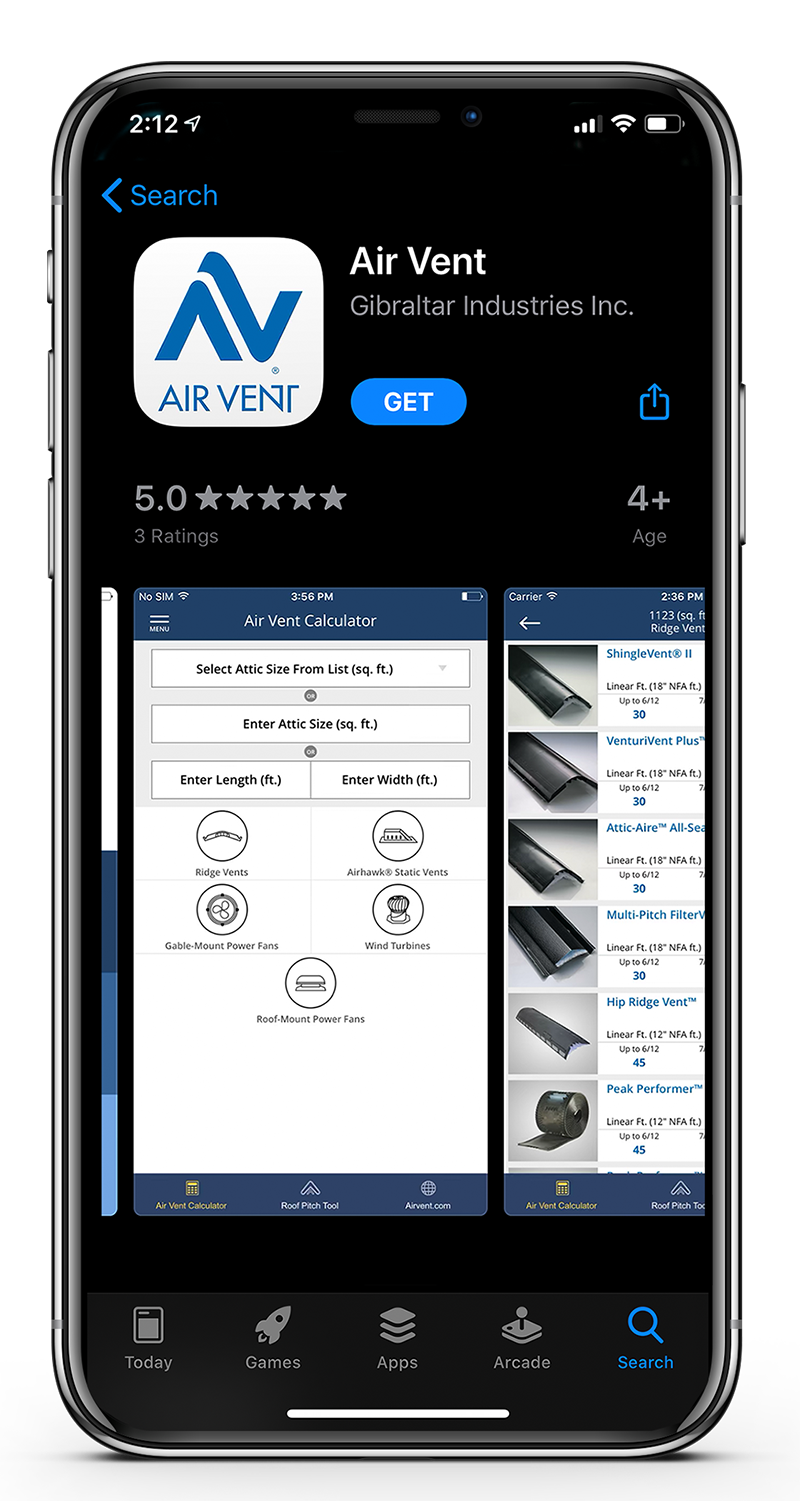 Air Vent app for roofing contractors on an iPhone
