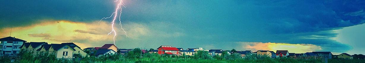 Hail Storm and lightning striking houses