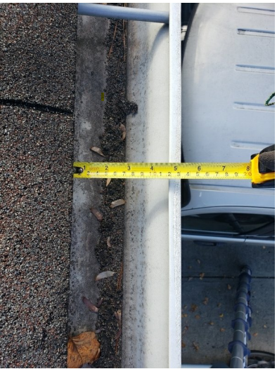 photo of gutter measurement from above