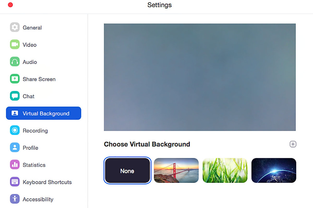 Zoom virtual background settings