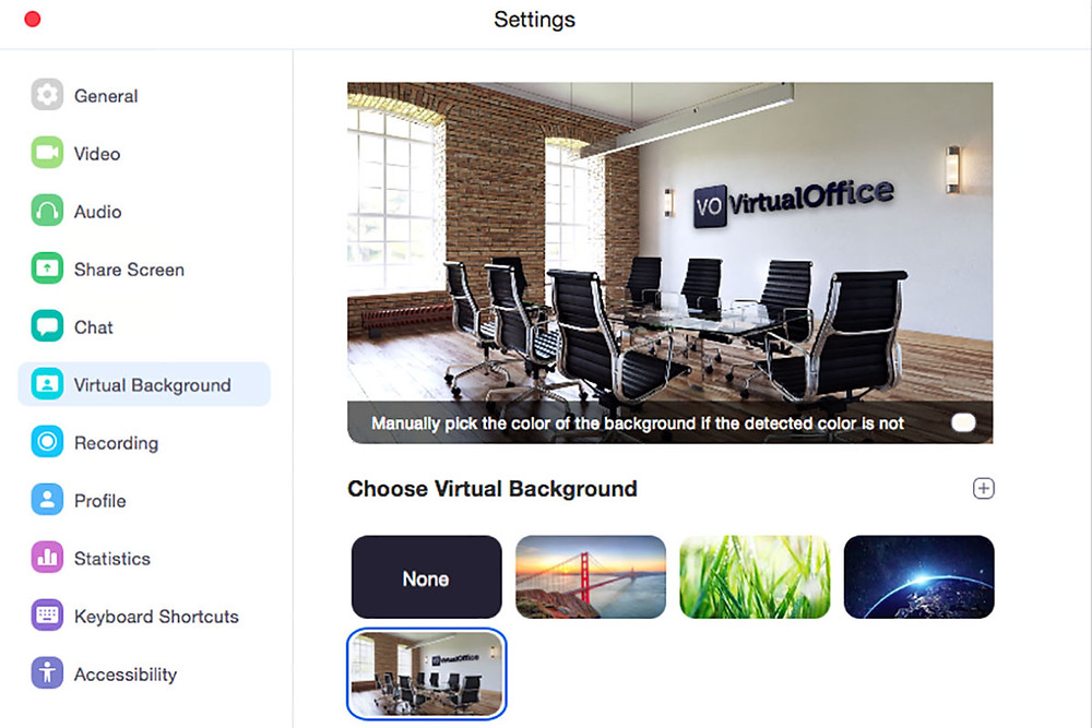 Virtual background preview - Virtual office