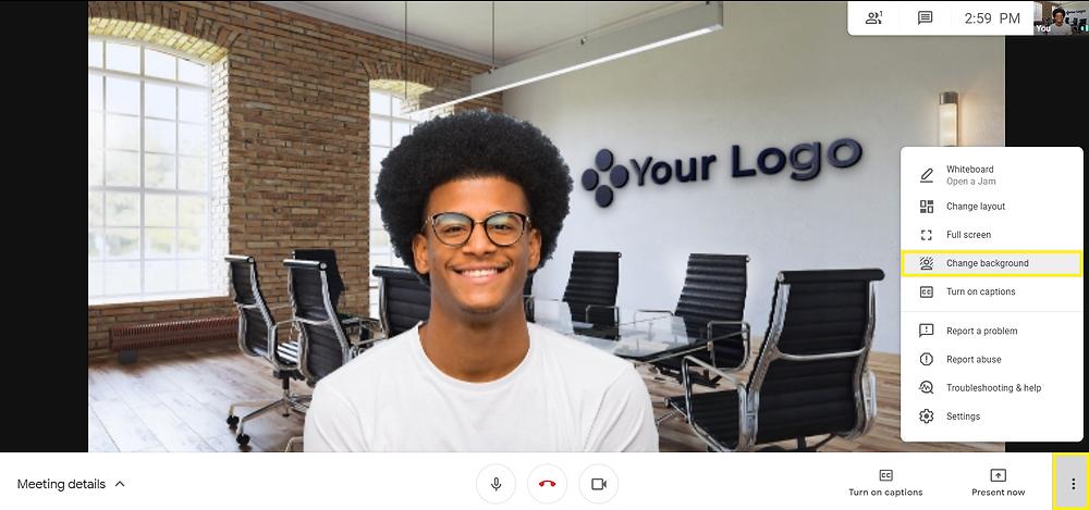google meet virtual background - virtual office