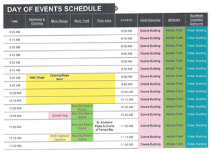 Schedule of Days Events