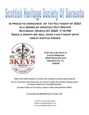 1st Kilt Night of 2021 for the Scottish Heritage Society of SRQ