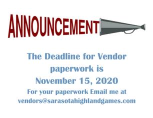 Vendor Deadline Approaching.