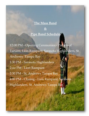 Mass & Pipe Band Schedule