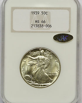 1939 NGC MS-66 OGH GOLD CAC 38-006 FRONT