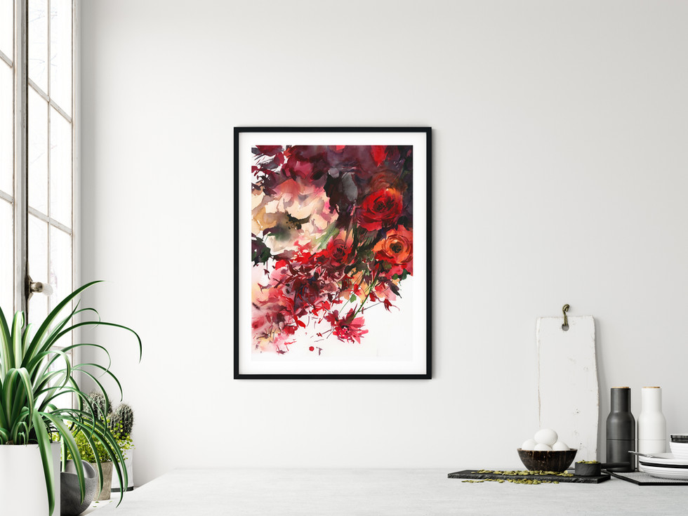 Blazing Beauty  Fine art print available on Saatchi Art as a reproduction of the original painting.  Printed on 100% cotton linters (short fibers) paper, 140 lb, soft color fidelity, archival quality