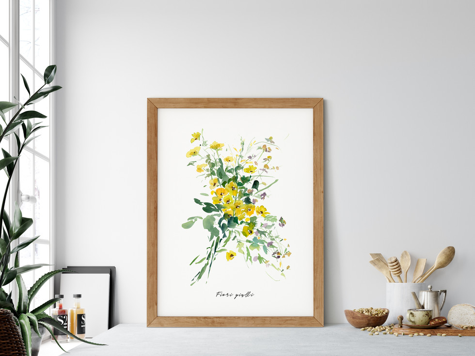 Fiori gialli 1  The original painting has been sold. Fine art print available on Saatchi Art as a reproduction of the original painting.  Printed on 100% cotton linters (short fibers) paper, 140 lb, soft color fidelity, archival quality
