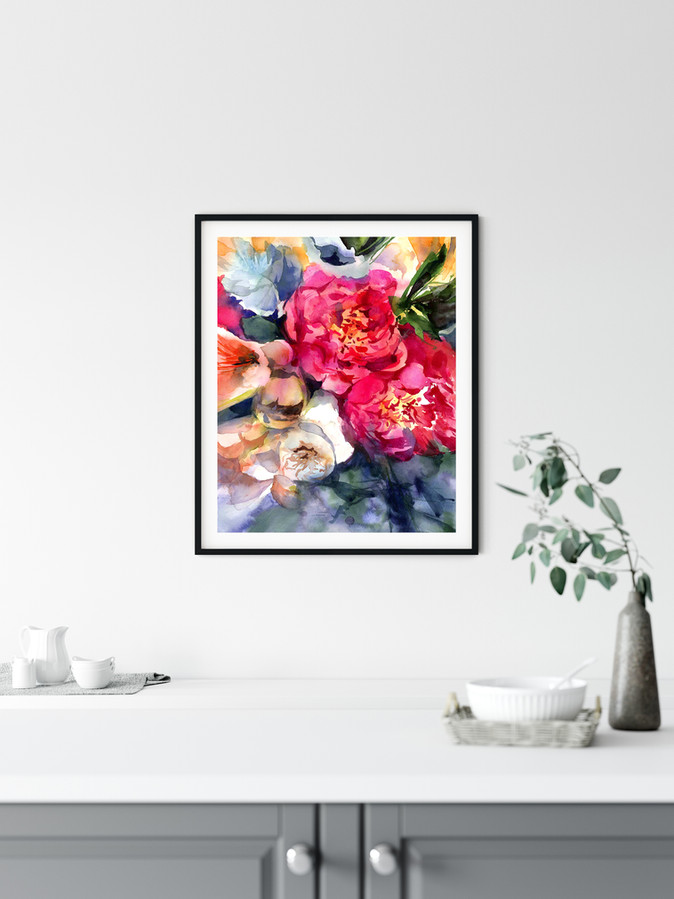 """Belle Peonie  Watercolor original painting on 100% cotton cold press paper, 140 lb, size 20""""x16"""",   This applies to the original painting without a frame.  Fine art print available on Saatchi Art as a reproduction of the original painting.  Printed on 100% cotton linters (short fibers) paper, 140 lb, soft color fidelity, archival quality"""
