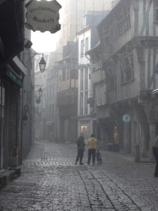 Misty morning on the street in Dinan