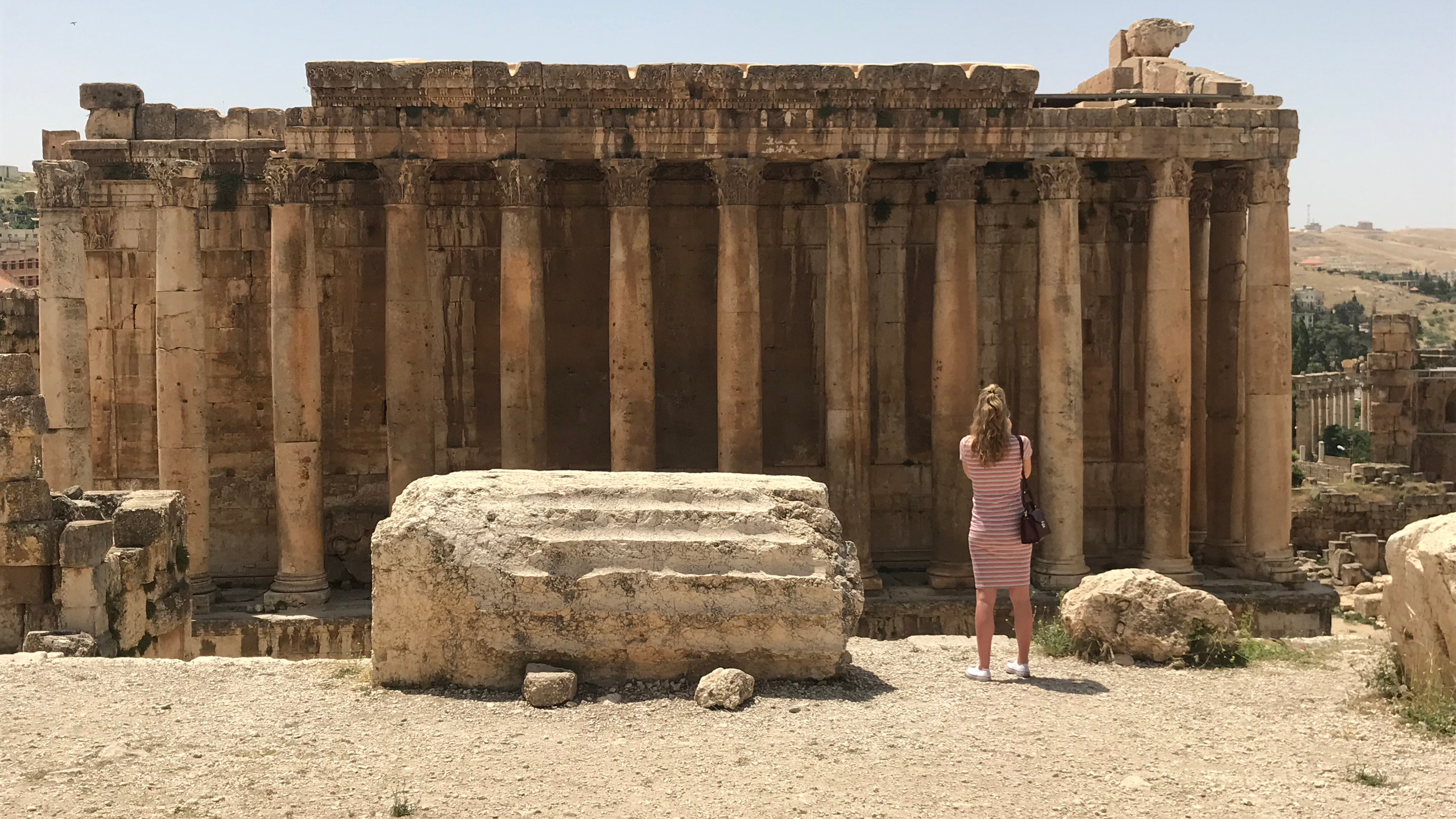 A view to the Temple of Bacchus, Baalbek