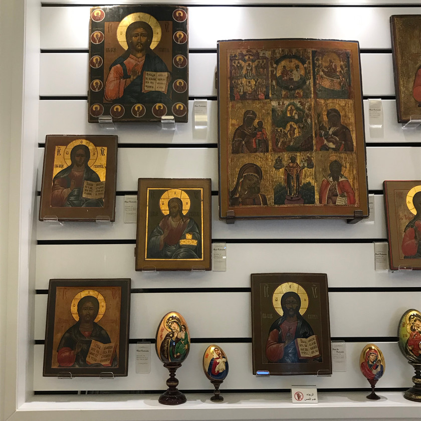 Icons on display near Our Lady of Harissa