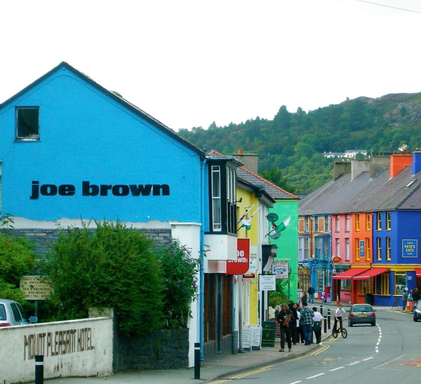 Llanberis high street, with its colourful shops