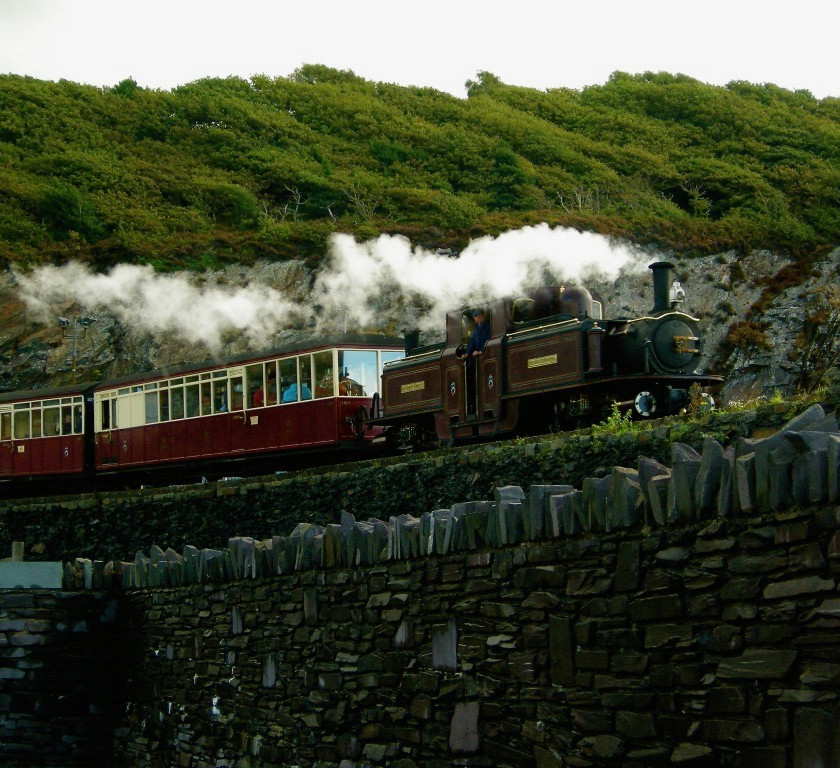 The Porthmadog train line steams across the Welsh countryside