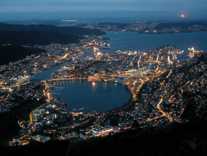 An evening view over Bergen from atop the cable car, Ulriken 643