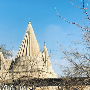 The conical domes of Lalish Temple are a unique symbol of the Yezidi faith, an indigenous religious group to Kurdish lands