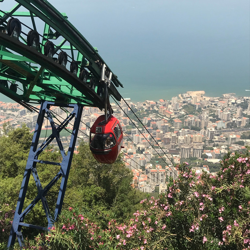 A cable car provides access up to Our Lady of Harissa site, above Jounieh, greater Beirut.