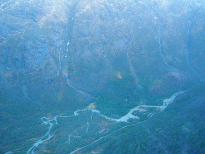 A helicopter view of the fjords