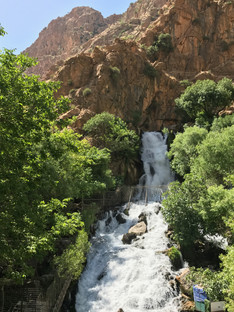 Ahmed Awa waterfall cascades down the Zagros mountains along the border with Iran