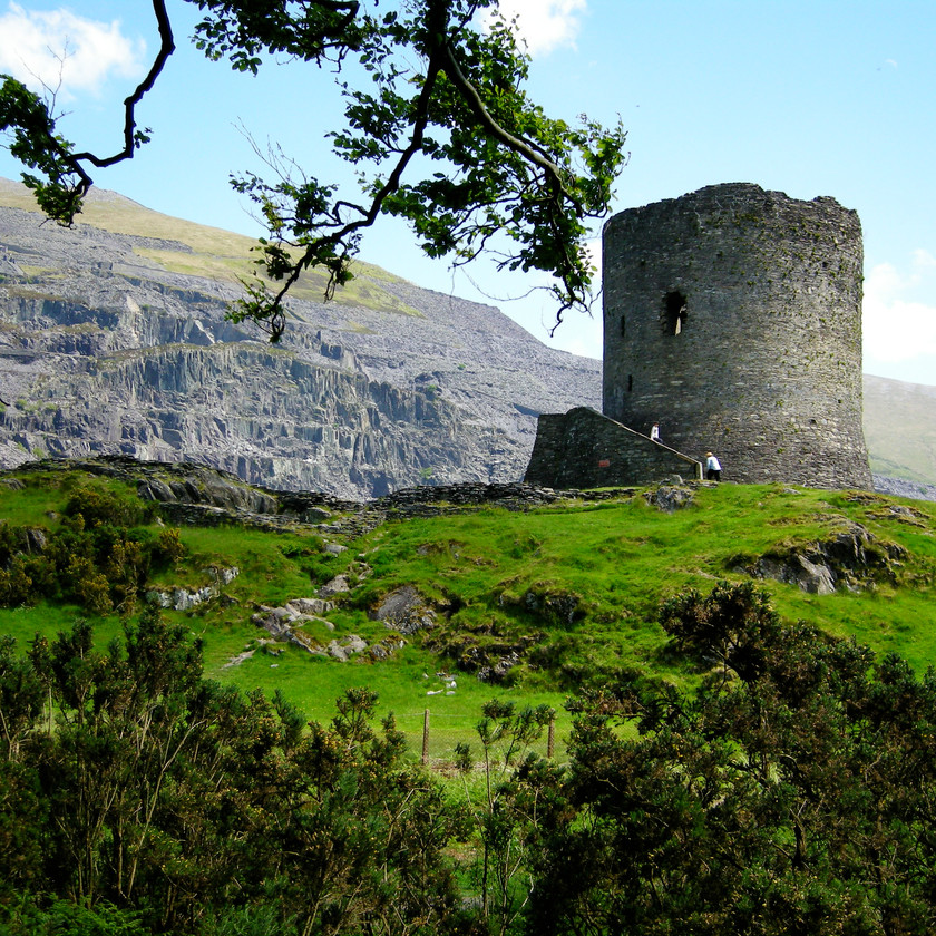 The remains of Dolbadarn Castle overlooks Llanberis, North Wales