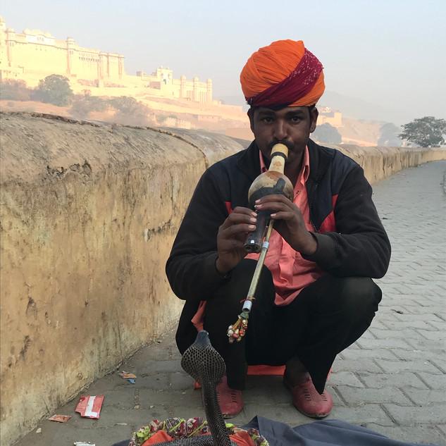 Snake charmer at Amber Fort, Jaipur