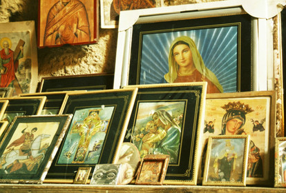 Icons and holy images on display in Paphos