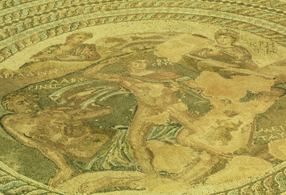Mosaics, well-preserved, on display at the Paphos Archaeological Park
