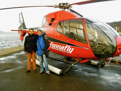 Helicopter rides available through the fjords near Bergen