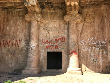 Despite being vandalised by graffiti, the ancient rock cut Zoroastrian tomb near Slemani is an intriguing visit