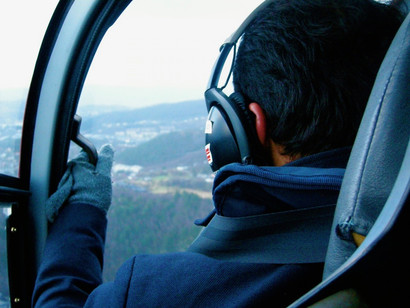Aboard the helicopter in Bergen, above the fjords