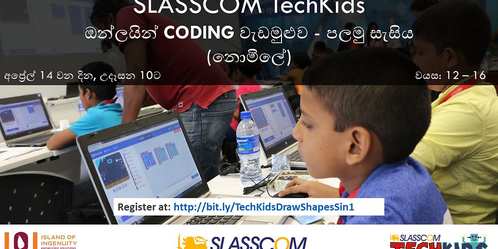 SLASSCOM TechKids Online Coding Workshop (Sinhala) - Drawing Shapes using Scratch Pen Tool - Session #1